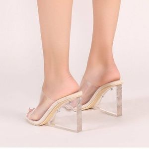58f7905c2078 Public Desire Shoes - MALIBOO CLEAR PERSPEX MULE WITH WEDGE HEEL BEYONCE